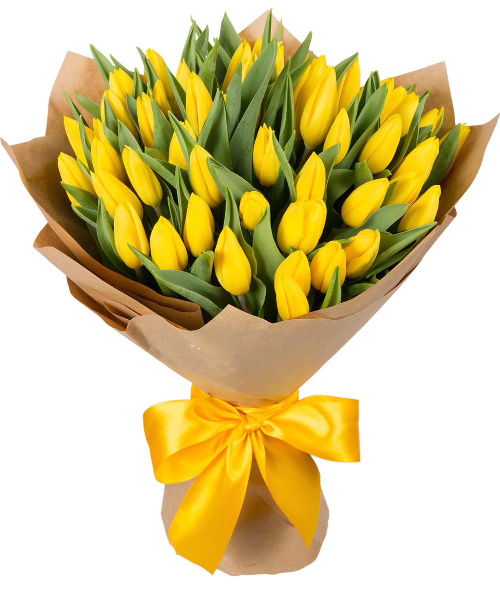 фото букет желтых тюльпанов даже