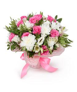 "Bouquet from flowers ""Raspberry Dreams"" 25 - 20 cm."