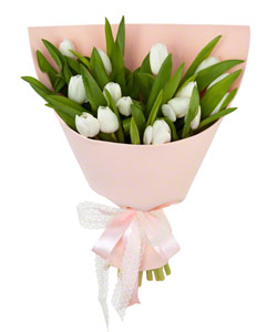 """Букет из цветов """"Букет из 15 белых тюльпанов"""" 18 - 30 см."""