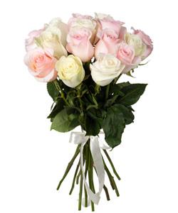"""Букет из цветов """"Букет из розовых и белых роз"""" 25 - 50 см."""