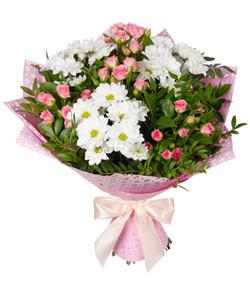 """Букет из цветов """"Цветочный блюз"""" с доставкой по Новосибирску 35 - 45 см."""