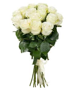 """Букет из цветов """"Букет из 15 белых роз"""" 20 - 60 см."""