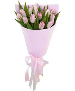 """Букет из цветов """"Букет из 15 розовых тюльпанов"""" 18 - 30 см."""