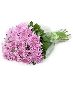 """Букет из цветов """"Букет из 15 сиреневых хризантем"""" 25 - 45 см."""